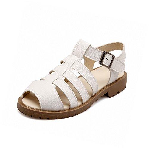 AllhqFashion Peep Mini Tacón Hebilla Sólido Sandalias de vestir Blanco