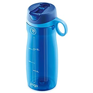 Pogo BPA-Free Plastic Water Bottle with Flip Straw, Blue, 18 oz Standard