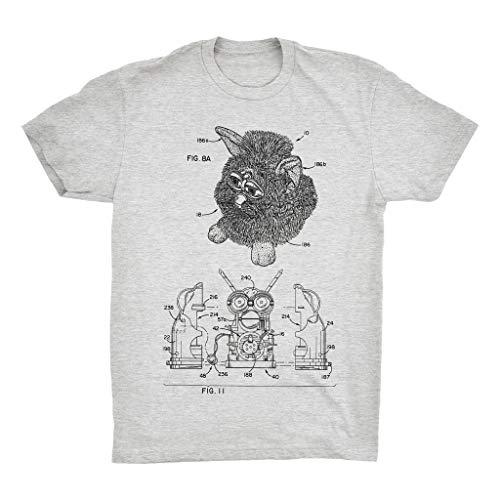 Furby Patent T-Shirt. Furby Tshirt 100% Soft Cotton Tshirt Premium Tee Grey (Small)