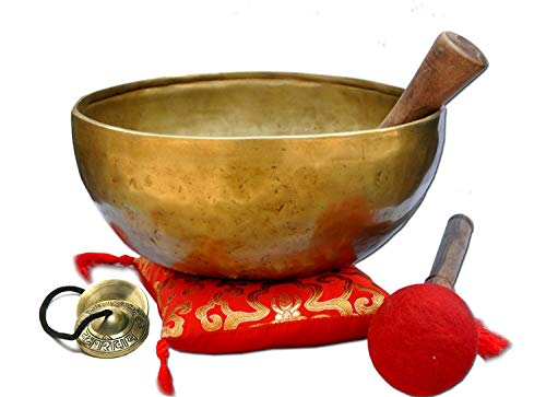 "9"" G Throat Chakra Old Tibetan Singing Bowl,massive mater healing singing bowl,meditation bowl from Tibet,Handmade singing bowls, including free Tingsha Cymbals, Silk Cushion Wooden Mallet (Strike)."