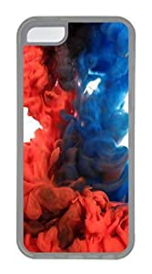 LJF phone case ipod touch 4 Case, Customized Protective Soft TPU Clear Case for ipod touch 4 - Red Blue Cover
