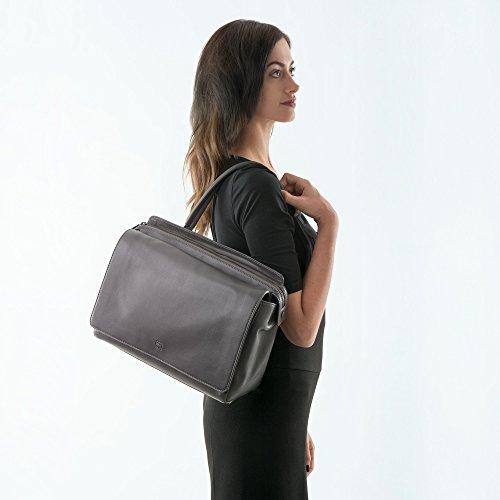 DUDU Damen Tasche gross elegant aus echtem Leder geräumig Doppelfach mit Griff und abnehmbarem Schulterriemen Grau afm0nl