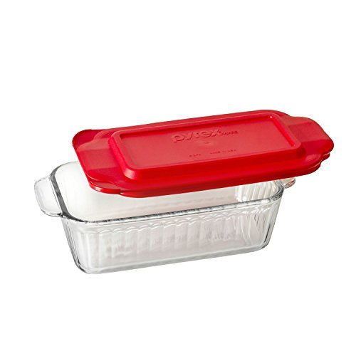 Pyrex Sculpted 1.5-qt Loaf Pan w/ Red (1.5 Quart Loaf Pan)