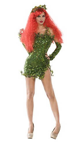 Costume Poison Halloween Ivy (Party King Women's Poisonous Villain Sexy Cosplay Costume Dress Set, Green,)