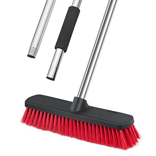 Sincetron Long Handle Floor Scrubbing Brush, Push Broom with 12 Bristle Brush Head and 49 Removable Stainless Steel Handle for Cleaning Indoor and Outdoor