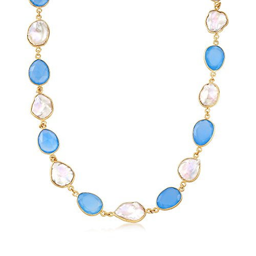 Cultured Keshi Pearl Necklace - Ross-Simons Blue Chalcedony and Cultured Keshi Pearl Necklace in 18kt Gold Over Sterling