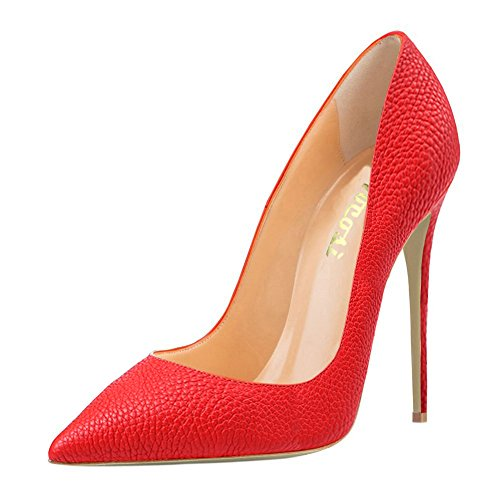 High for 7 Party 4 inches Red Ladies Pointed toe VOCOSI Pumps lines Zsie Shoes Heels Dress Women's Patent E6OpqS