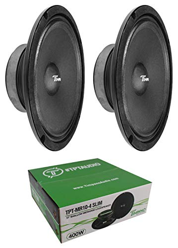 "2 x Timpano MR10-4 Slim 10"" Mid Range Speaker Car Audio 4 Ohm 800W"
