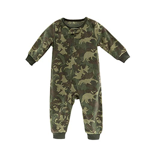 Baby Boy Girl Polar Fleece Romper Warm Bodysuit Zip Up Footless, Fleece Long Sleeve,Green,9-12M