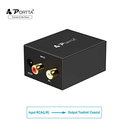 Portta Audio Converter Analog R/L RCA to Digital Coax/ Toslink Audio Converter Support Stereo LPCM CH2.0 without Decode Function for PS3 XBox HD DVD PS4 Sky HD Plasma Blu-ray Amps Apple TV (Renewed)