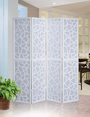 Roundhill Furniture Giyano 4 Panel Screen Room Divider, White