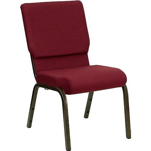 Attractive Flash Furniture 4 Pk. HERCULES Series 18.5u0027u0027W Stacking Church Chair In  Burgundy Fabric   Gold Vein Frame