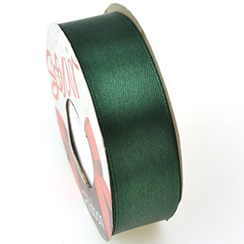 Star Quality 1 Inch Wide Satin Ribbon by 25 Yard Spool | Polyester Ribbon for Floral Arrangement, Wedding Bouquet, and Big DIY Artwork Projects| No Fading Woven Ribbon (1-Inchx25Yard, Christmas Green)