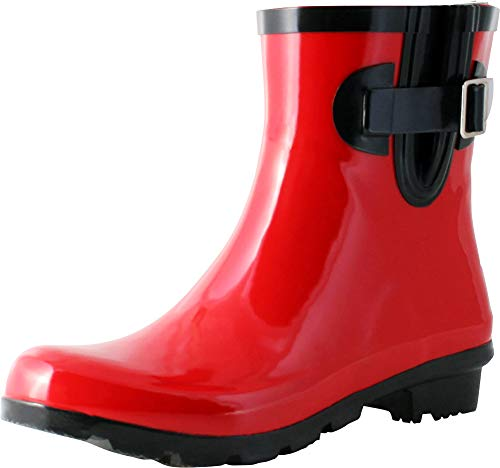 (TWO Nomad Women's Dew Waterproof Rubber Ankle Rain Boot,9 M US,Shiny)