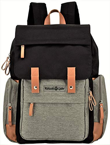 Rascal Gear Diaper Bag Backpack in Gray and Black with Two Large Capacity Insulated Pockets, Attached Stroller Straps, Padded Laptop Pocket, and Bonus Changing Pad; The Tiffany Bag