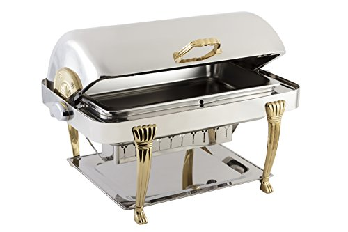 Bon Chef 12040 Elite Series Stainless Steel Rectangular Chafing Dish with Aurora Legs, 2 gal Capacity