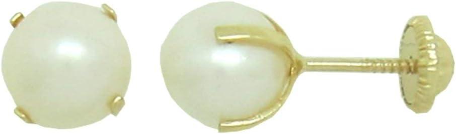 Pendientes Dormilonas Recién Nacida Perla Cultivada 4 mm - 4 garras Oro 18k Rosca de seguridad