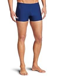 Speedo Men\'s Endurance+ Polyester Solid Square Leg Swimsuit, Navy, 34
