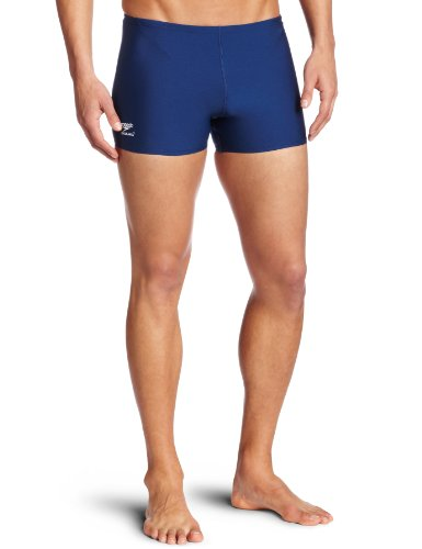 Speedo Men's Endurance+ Polyester Solid Square Leg Swimsuit, Navy, - Speedo Navy Blue Swimsuit