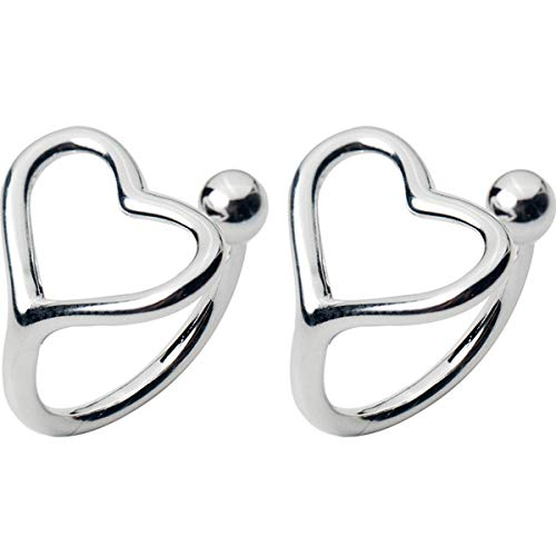 - Minimalist Love Bead Cuff Open Hoop Clip on Earrings for Women Girls Teens S925 Sterling Silver with 18K White Gold Plated Small Heart Cute Cartilage Climber for Non Piercing Upper Ear Huggie Gifts
