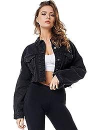Women Jean Jacket Button Down Distressed Oversized Crop Jeans Denim Jackets Coat