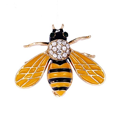 Alonea Brooch Pins, Crystal/Rhinestone Bee Gold Silver Plated Lapel Pin Brooches Collar (Yellow ❤️) (Corsage Ring Platinum Ring)