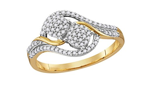 - 10K Yellow Gold Diamond Double Circle Ring 1/5 Ctw.