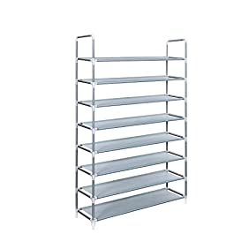 Songmics 8 Tiers Shoe Tower Rack Shoe Storage Organizer Space Saving Shoe Cabinet Grey ULSR08G