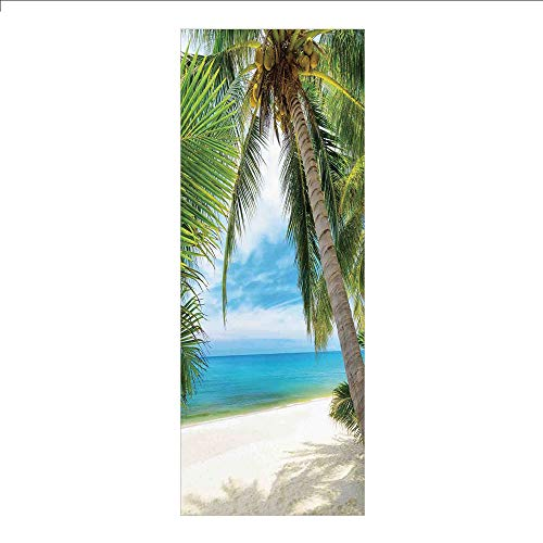 3D Decorative Film Privacy Window Film No Glue,Ocean Decor,Shadow Shade of a Coconut Palm Tree on White Sand,for ()