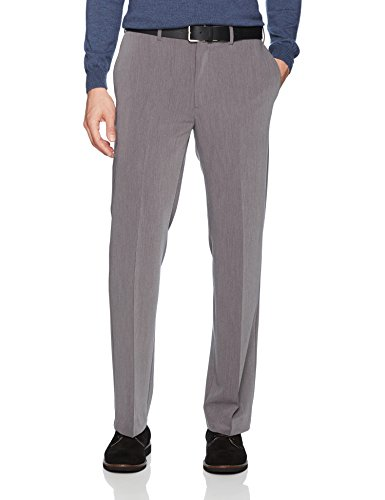- Savane Men's Flat Front Active Flex 4-Way Stretch Gab Dress Pant, Grey, 38W x 30L