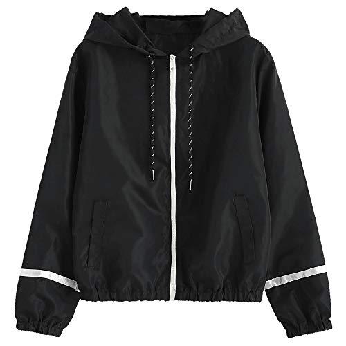 (ZAFUL Women's Long Sleeve Hooded Collar Wide Waist Two Tone Windbreaker Jacket (Y-Black, M))