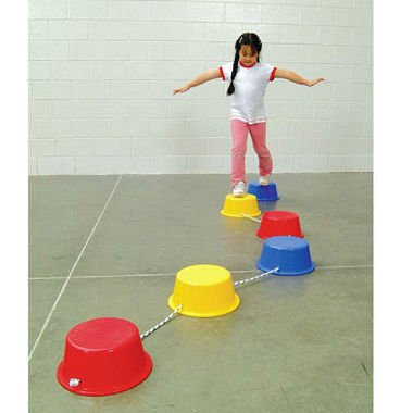 School Smart Stepping Buckets Balance Builders - 5 x 12 inch - Set of 6 - 2 Each of 3 Primary Colors School Specialty 018901