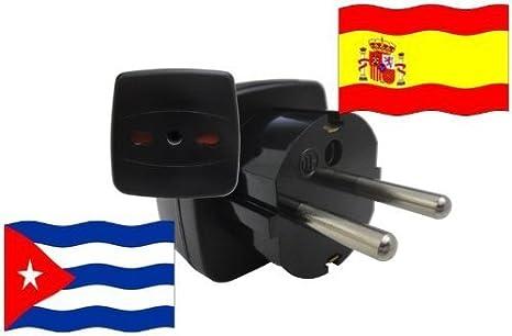 Adaptador de Viaje a España de Cuba ES-CU Enchufe Viaje España (Protección Contacto): Amazon.es: Iluminación