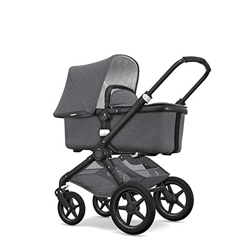 Bugaboo Fox Classic Complete Stroller Fully-Loaded Foldable Stroller with Advanced Suspension and All-Terrain Wheels Black//Grey M/élange