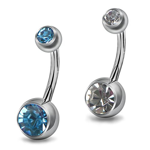 OUFER Body Piercing Two Pieces Grade 23 Solid Titanium No Allergy Double Jeweled CZ Crystal Belly Button Ring 14Gauge