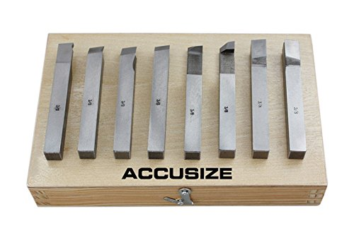AccusizeTools - 8 pcs H.S.S. Tool Bit Set, Pre-Ground for Turning & Facing Work, for Aluminum.Steel, Brass, Plastic & Wood (3/8 inch) by Accusize Industrial Tools (Image #2)