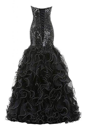 Sunvary Robe Longue Robe de Bal Robe de Bal Sir¨¨ne sans Bretelles Col en C?ur Luxueuse en Paillette, Organza avec Drap¨¦s, Faux Diamants