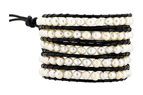 (Mandala Crafts Womens Long Beaded Dyed Freshwater Cultured Pearl Wrap Around Leather Bracelet (White))