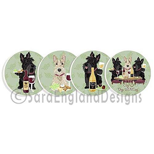 WINEing Scottish Terrier – 4サンドストーンコースターのセット   B00FQ9BW7A