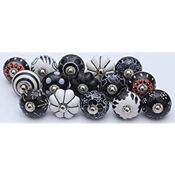 14 Black And White Ceramic Knobs Handpainted Ceramic Door Knobs Kitchen  Cabinet Drawer Puller Pulls Furniture