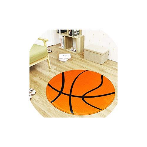 New Polyester Anti-Slip Ball Round Carpet Computer Chair Pad Football Basketball Living Room Mat Children Bedroom Rugs,NO 2,Diameter 80cm