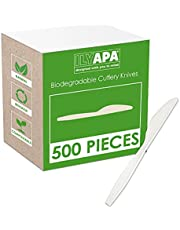 Ilyapa 500 Compostable Knives - Heavyweight Biodegradable Knife Set - Bulk Disposable Cutlery for Party or Wedding