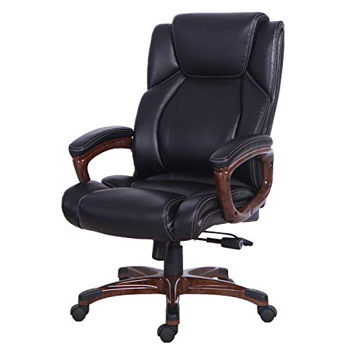 LCH High Back Ergonomic Leather Swivel Computer Desk Chair, Big and Tall Executive Office Chair with Armrests, Heavy Duty Boss Task Chair, Weight Capacity: 350 Lbs, Black&Brown, 1