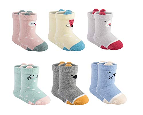 Newborn Baby Socks - 6 Pairs Girls And Boys Infant Socks 0-6 Months Gifts