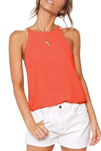 (LouKeith Womens Tees Halter Tank Tops Summer Sleeveless Shirts Workout Yoga Racerback Casual Basic Cute Beach Blouses Coral M)