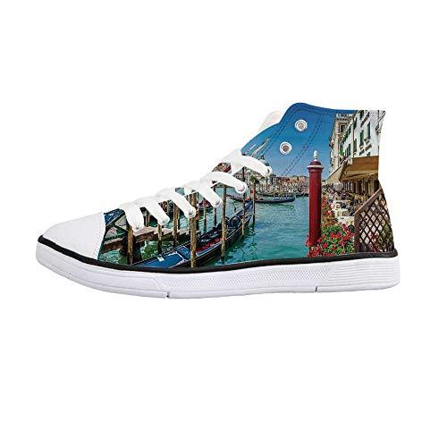 (Wanderlust Decor Comfortable High Top Canvas Shoes,Gondola on Canal Grande Basilica di Santa Maria Della Salute Sunny Day in Venice for Women Girls,US 8)