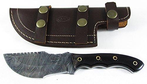 Moorhaus Handmade Firestorm Damascus Genuine Buffalo Horn Tracker Knife Sub Hilt with Serrated Upper Spine - a Work of Art! by Moorhaus (Image #3)