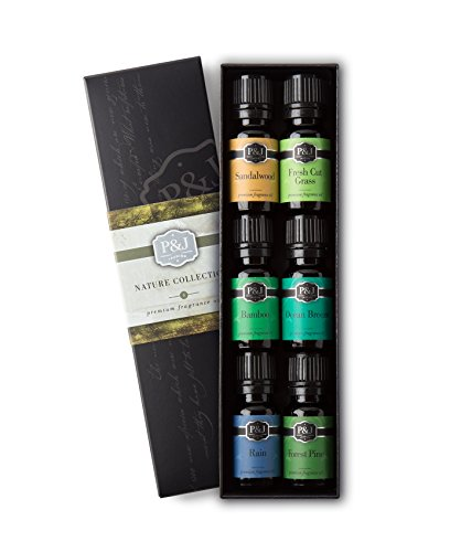 P&J Trading Nature Set of 6 Premium Grade Fragrance Oils - Forest Pine, Ocean Breeze, Rain, Fresh Cut Grass, Sandalwood, Bamboo - 10ml - Fresh Peach Fragrance Oil