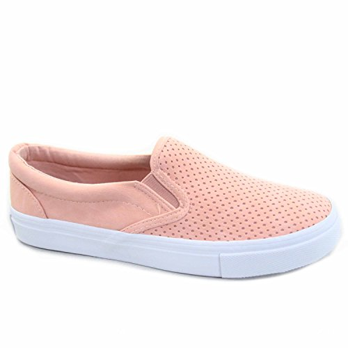 Soda Tracer-S Women's Cute Perforated Slip On Flat Round Toe Sneaker Shoes Pink