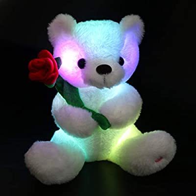 Houwsbaby Glow Teddy Bear with Rose Stuffed Animal Soft Light Up Plush Toy LED Night Lights for Kids Toddler Girlfriend Mother's Day, White, 10.5'': Toys & Games